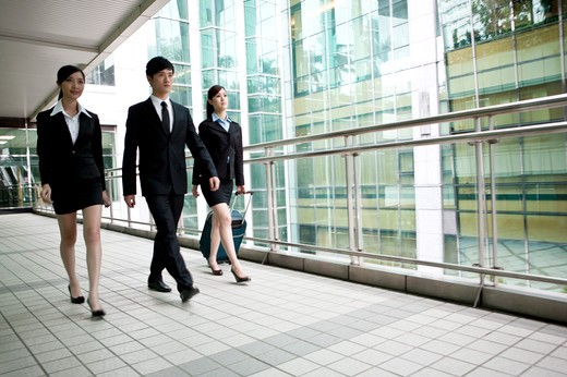 Stock Photo: 1397R-72209 Business team walking in office building