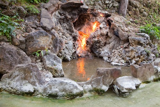 Stock Photo: 1397R-72811 Fire and Water Spring, Guanzihling Hot Springs, Baihe Township, Tainan, Taiwan, Asia