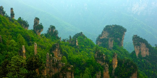 Stock Photo: 1397R-73267 Mt Tianzi, Rock like a fairy presenting flowers, Zhangjiajie, Hunan Province, China, Asia