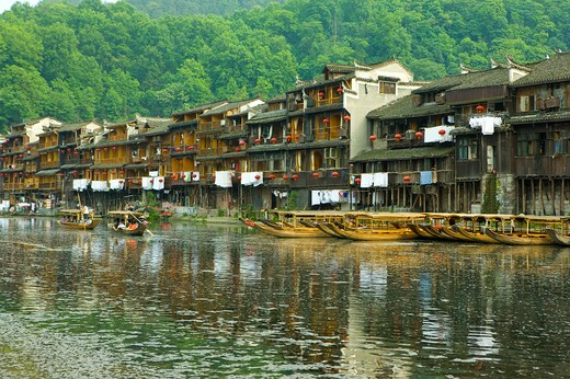 Stock Photo: 1397R-73315 Pheonix Old City, Tuojiang River, Stilted Building, Phoenix County Province, Hunan Province, China, Asia