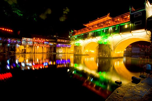 Pheonix Old City, Tuojiang River, Hongqiao Bridge, Nightlife, Phoenix County Province, Hunan Province, China, Asia : Stock Photo