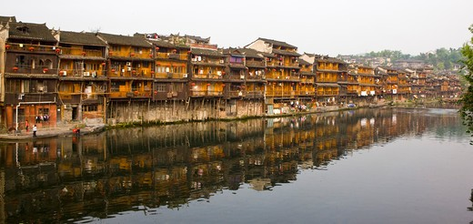 Stock Photo: 1397R-73347 Pheonix Old City, Tuojiang River, Stilted Building, Phoenix County Province, Hunan Province, China, Asia