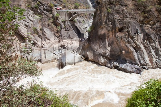 Stock Photo: 1397R-73999 Lijiang, Yunnan Province, China, Asia, Tiger-leaping Gorge, Jinsha River, Canyon,