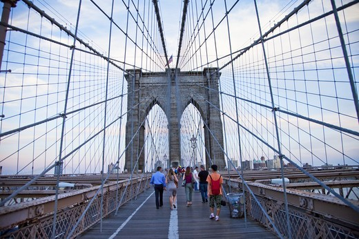 Stock Photo: 1397R-74539 Brooklyn Bridge, Manhattan, New York City, New York State, USA, North America