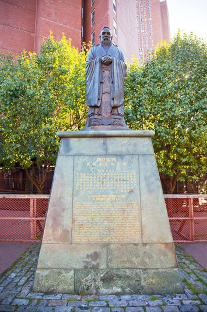 Statue of Confucius, Manhattan, New York City, New York State, USA, North America : Stock Photo