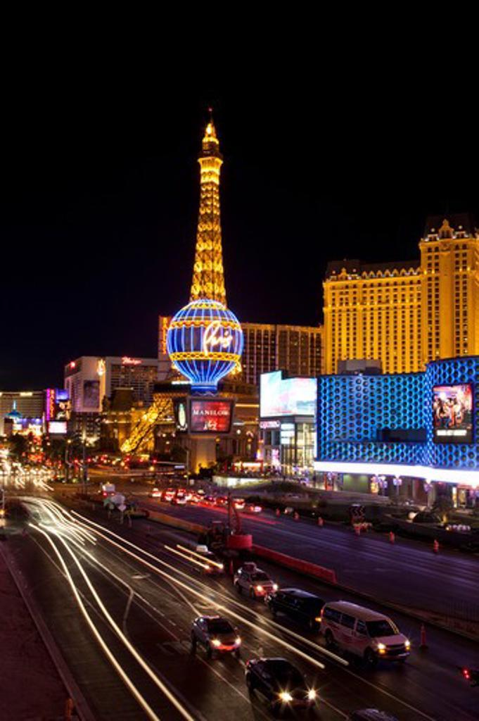Stock Photo: 1397R-74924 Las Vegas Strip at night