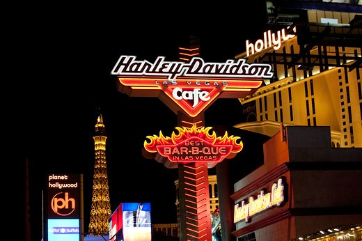 Commercial neon signs at night, Las Vegas : Stock Photo