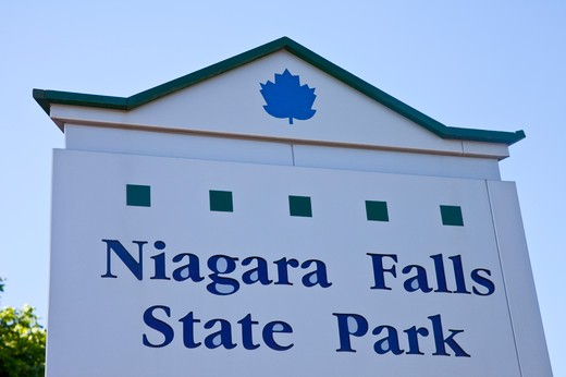 Stock Photo: 1397R-74980 Sign in Niagara Falls, New York State, USA, North America