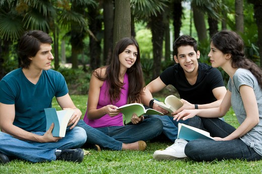 Stock Photo: 1397R-75431 Four young friends sitting on lawn, reading books