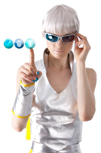 Young woman touching and looking down with sunglasses : Stock Photo