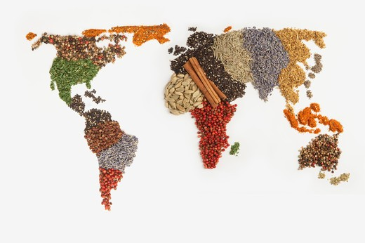 Map of world made of various Spices : Stock Photo