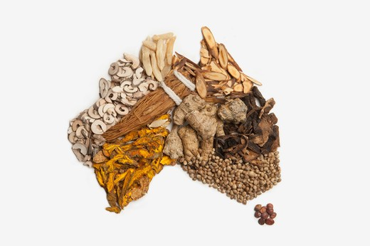 Stock Photo: 1397R-75995 Map of Australia made of various Chinese Herbal Medicine