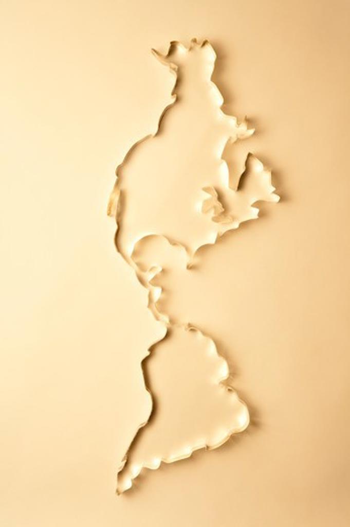 World Map, North America, South America : Stock Photo