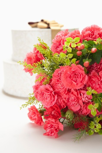 Stock Photo: 1397R-76378 Carnation bouquet and gift box