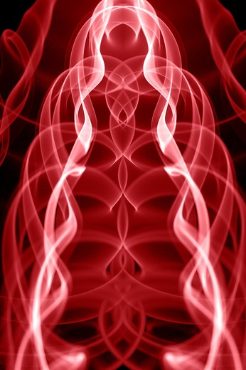 Stock Photo: 1397R-77875 Red smoke trail graphic design art on black background