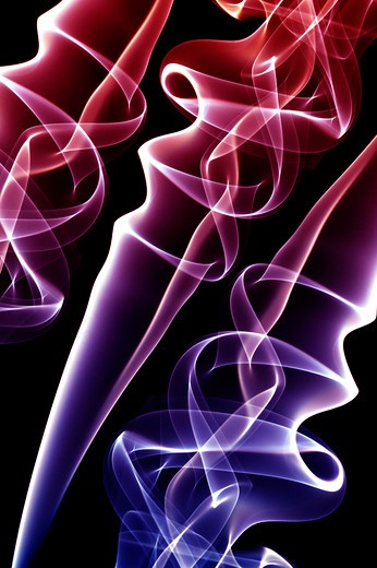 Stock Photo: 1397R-77879 Ethereal drift of smoke on black background