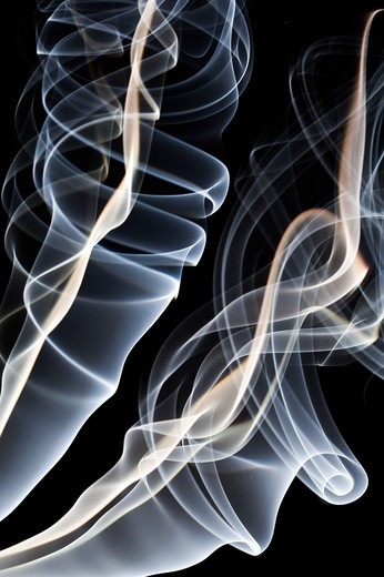 Stock Photo: 1397R-77922 Ethereal drift of smoke on black background