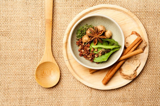 Stock Photo: 1397R-78048 Spice, Kaffir, Cardamom, Star Anise, Galanga, Cinnamon, Coriander, Pepper