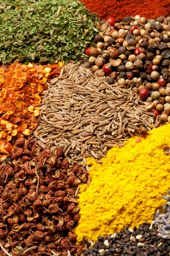 Stock Photo: 1397R-78128 Spice, Pepper, Cardamom, Chili, Lemon Grass, Cinnamon, Coriander, Fennel, Rosemary, Curry Powder, Chili Pepper, Sesame