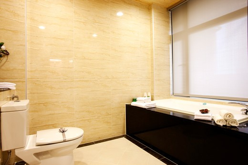 Modern bathroom with bathtub : Stock Photo