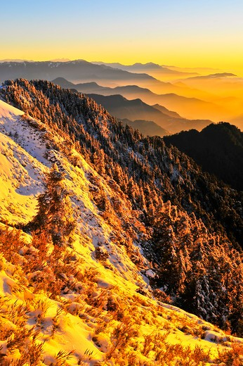 Taiwan, Mt. Hehuan, Sunset : Stock Photo