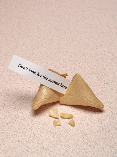 Close-up of a fortune cookie with a message : Stock Photo