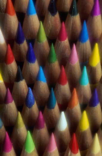 Stock Photo: 1401R-255 Close-up of colored pencils