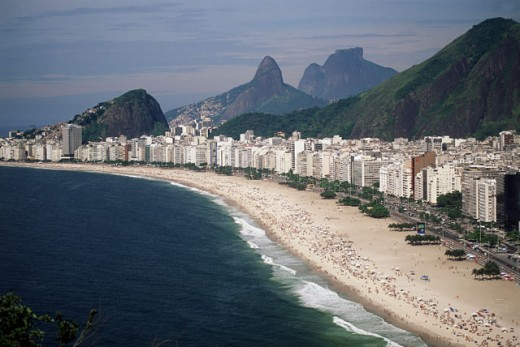 High angle view of buildings along the beach, Rio de Janeiro, Brazil : Stock Photo