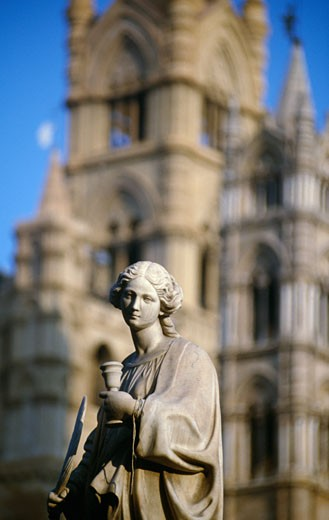 Statue in front of a church, Palermo, Sicily, Italy : Stock Photo