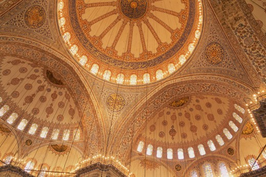 Stock Photo: 1403-525 Interior of the Blue Mosque, Istanbul, Turkey