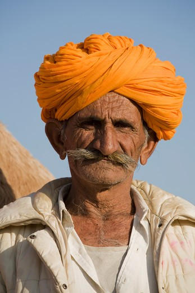 Stock Photo: 1403-658 Portrait of a man, Thar Desert, Khuri, Sikar, Rajasthan, India