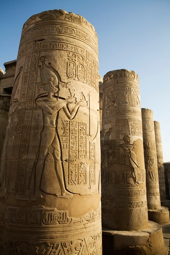 Egypt, Kom Ombo, Carved columns at Temple of Horus and Sobek at ancient ruins on Nile River : Stock Photo
