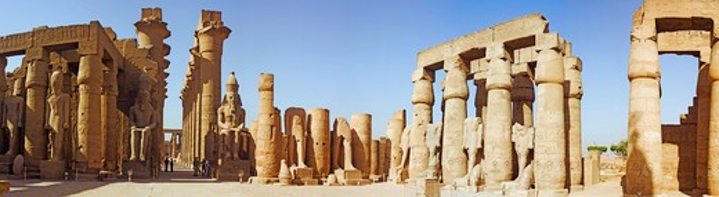 Egypt, Luxor, Luxor Temple, Great Court of Ramses II : Stock Photo