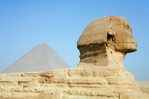 Stock Photo: 1403-791 Egypt, Cairo, Giza, The Great Sphinx and Pyramid of Khufu