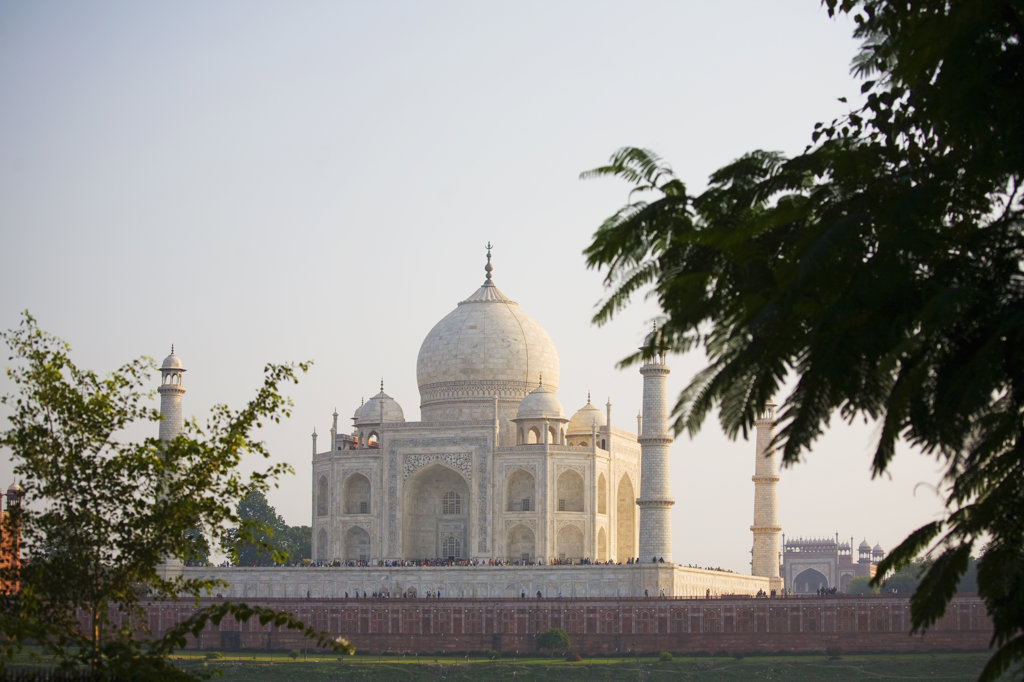 Facade of a mausoleum, Taj Mahal, Agra, Uttar Pradesh, India : Stock Photo