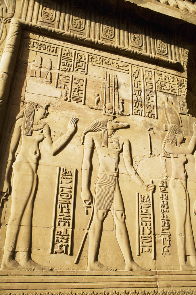 Egypt, Close up of remarkably preserved carvings at Temple of Horus and Sobek at ancient ruins of Kom Ombo on Nile River : Stock Photo