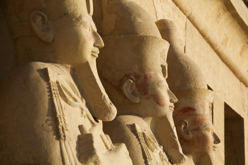 Egypt, Luxor, Osiride statues at Mortuary Temple of Hatshepsut at Deir el Bahri on West Bank of Nile River : Stock Photo