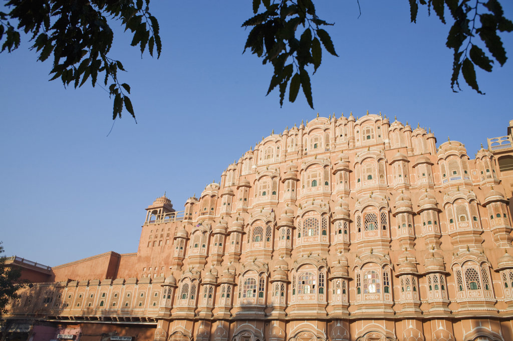 India, Rajasthan, Jaipur, Low angle view of Palace of Winds : Stock Photo