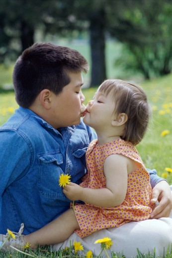 Stock Photo: 1406R-246 Side profile of a girl kissing a boy