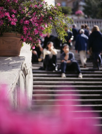 Stock Photo: 1408-192 People sitting on steps, Spanish Steps, Rome, Italy