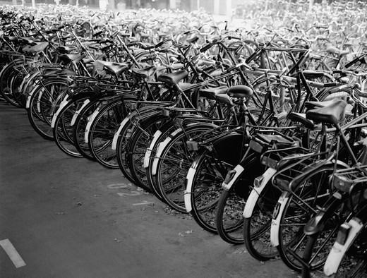 Stock Photo: 1408-623 Bicycles parked in a row, Central Station, Amsterdam, Netherlands