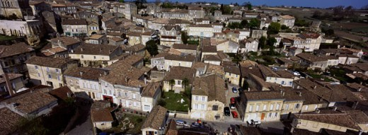 Stock Photo: 1408-684 High angle view of buildings in a city, St. Emilion, France