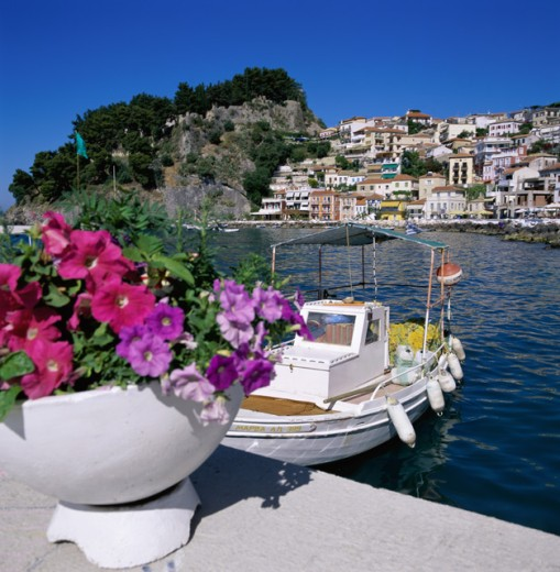 Stock Photo: 1417-214 Boat docked at a port, Parga, Greece