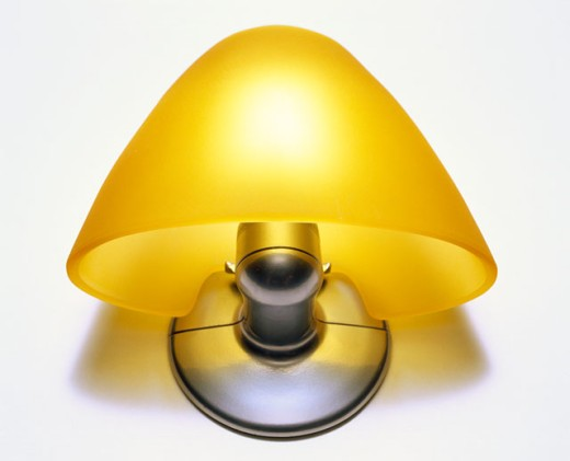 Close-up of a lamp shade on a wall : Stock Photo
