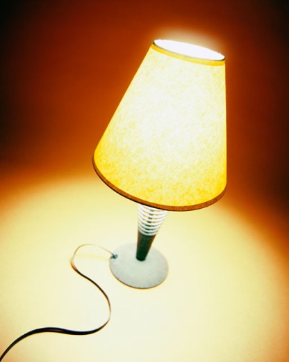 High angle view of a lit table lamp : Stock Photo