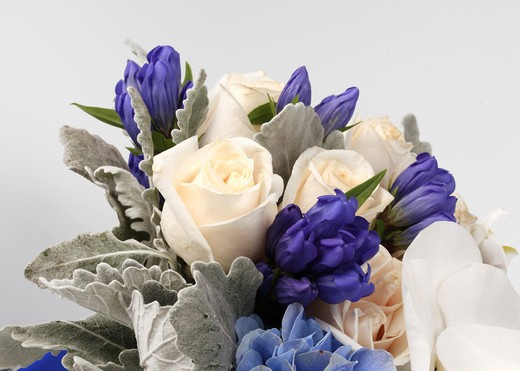 Stock Photo: 1422R-1127 Large bouquet of flowers (cream roses, blue hydrangea, white phalaenopsis and purple buds)