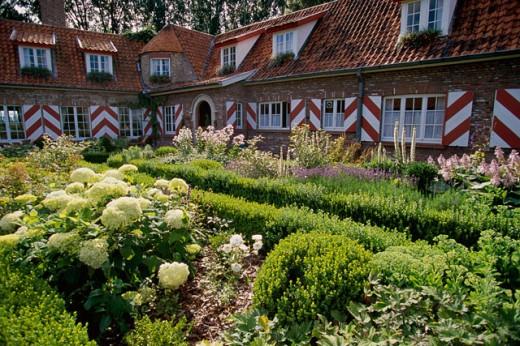 Garden at the Wilgenhof Hotel, Knokke, Belgium : Stock Photo