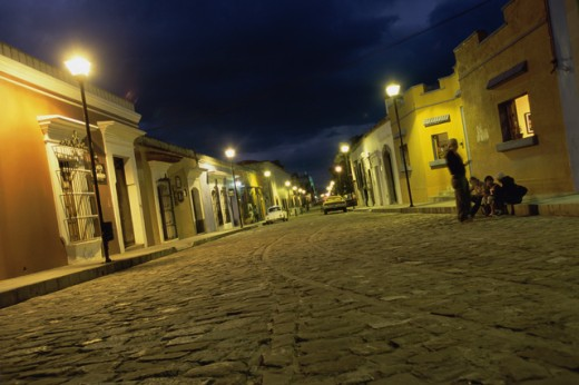 Stock Photo: 1424-343 Street lit up at night, Oaxaca, Mexico