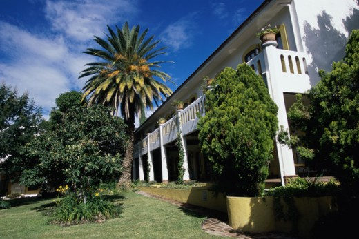 Low angle view of a hotel, Hacienda Los Laureles Hotel, Oaxaca, Mexico : Stock Photo