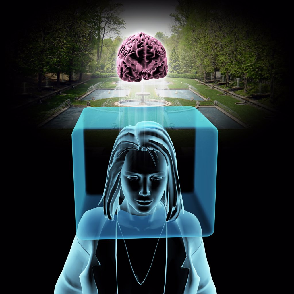 Thinking Outside The Box - Digital image of woman with head in box and brain outside, with garden in background : Stock Photo